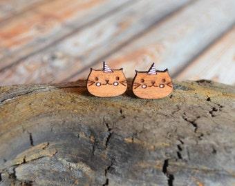 Earrings from wooden * Unicorn cat *.