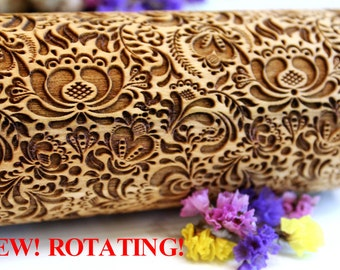 FLOWERS Embossing Rolling Pin, Christmas Gift, Laser Engraved Rolling Pin, FLORAL FOLK  Pattern, Embossed Dough Roller, Rotating Big 3