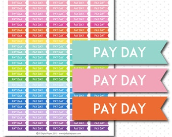 Pay day flag stickers, Pay day flag planner stickers, Flag stickers, Pay day stickers, Printable stickers, Stickers for planner, STI-768