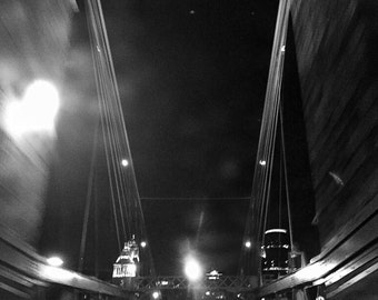 Coming Into Cincinnati, Architectural Photography, Roebling Suspension Bridge, Black & White City Wall Art, Urban Decor, Noir Photography
