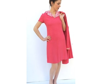 Exquisite Linen 1960s Dress and Coat Bright Pink