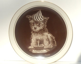 First Birthday Puppy's World Collectible Plate, Droguett Puppy Plate
