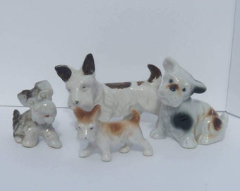 Vintage Lot of Japanese Scotty Dogs, Set of 4 Small Ceramic Scottish Terriers