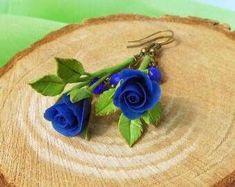 Drop Earrings royal blue Roses handmade polymer clay Earrings blue rose Blue earrings Royal blue earrings Blue jewelry flowers Rose earrings