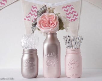 Blush Party Decor / Pink Silver / Mason jars / Dairy Bottle / Baby shower decor / Home Decor / rose gold / Vase / Centerpiece / set of 3