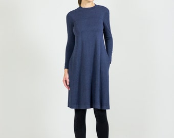 Heather Blue Jersey Dress // Dress with Sleeves // Modest Knee Length Dresses for Women