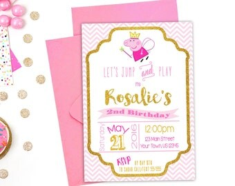 Peppa Pig Invitation, Peppa Pig Party, Peppa Pig Birthday, Printable Invitation, Fairy Peppa, Muddy Puddles, Ballerina, Birthday Invitation