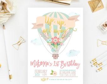 Hot Air Balloon Birthday Invitation, Up up and Away, Hot Air Balloon Party, Balloon Invitation, Printable, Girl Birthday, First Birthday