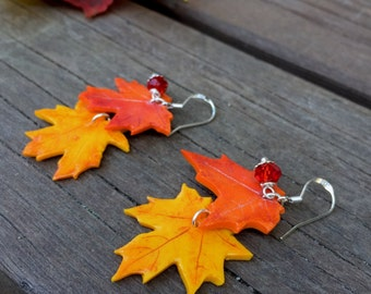Yellow & Orange Maple Leaves Earrings, Polymer Clay Earrings, Gift Idea, Unique, Autumn Leaves, Sterling Silver
