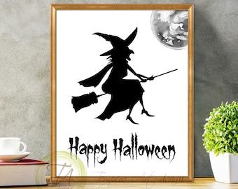 Happy Halloween Witch, Halloween Black White, Halloween Witch, Happy Halloween, Black And White, Black And White Art, Halloween Decoration