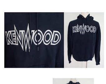 Vintage 90's KENWOOD embroidered big logo navy blue hoodie hood crewneck sweatshirt pullover champion