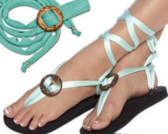 Bella Sandals - Interchangeable Sandals. Laces Light Blue with Accessory Wood.