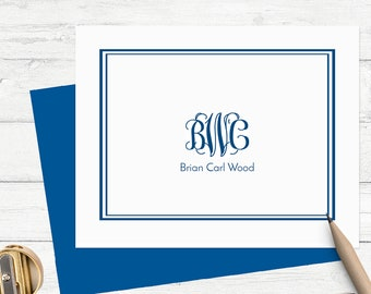 Personalized monogram stationery for men, mens custom stationary, mens personalized note cards, custom monogram notecards, set of 10, MS016