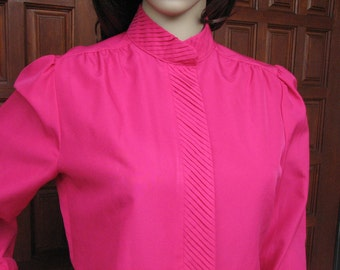 Vintage Secretary Blouse, 1980s Blouse, Feminine Blouse, Fucsia Blouse