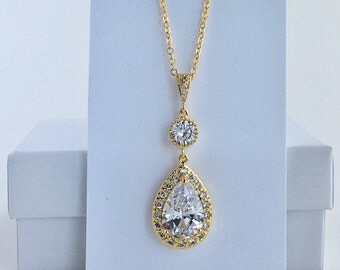 Gold Bridal Necklace Gold Wedding Crystal Pendant Gold Crystal Wedding Jewelry Gold Clear Crystal Necklace Gold Bridesmaid Crystal Jewelry