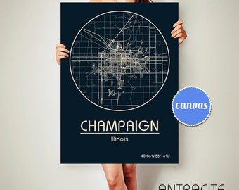 CHAMPAIGN Illinois CANVAS Map Champaign Illinois Poster City Map Champaign Illinois Art Print Champaign Illinois poster Champaign Illinois