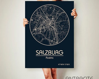 SALZBURG Austria CANVAS Map Salzburg Austria Poster City Map Salzburg Austria Art Print Salzburg Austria