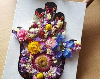 Hamsa Flower Collage on canvas / Hamsa Hand / Dried flower collage
