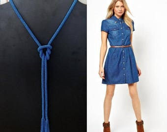 20% Sale! Jeans Blue Color Lariat - Crochet Beaded Necklace - Seed Bead Crochet Rope Necklace