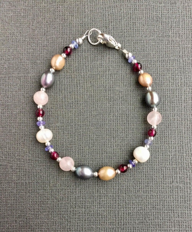 Pearl Tanzanite: Pearl Bracelet Tanzanite Garnet Gemstone Bracelet Sterling