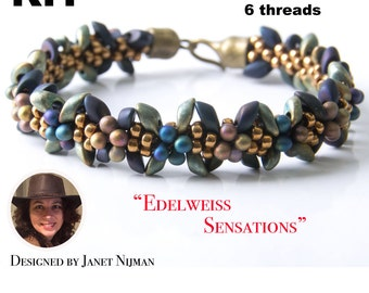 Kumihimo kit incl pattern tutorial 6 threads  Edelweiss Sensations bracelet Kumihimo Style
