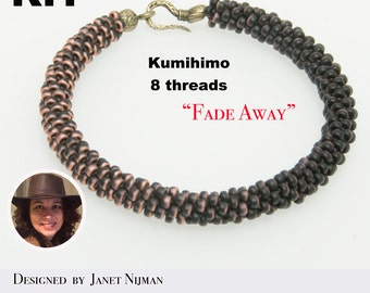KIT Kumihimo bracelet 8 Threads 'Fade Away'