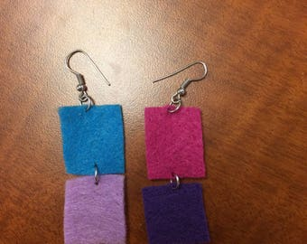 Colorful Felt Tile Earrings