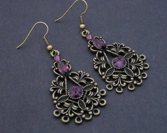 Gothic earrings broque style bronze metal and Swarovski crystals customizable