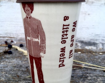 Fun handmade travel mug with royal guards