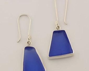 Blue Beach Glass Earrings, Blue Sea Glass Earrings in Sterling Silver