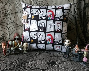 Nightmare Before Christmas Characters throw pillow white.