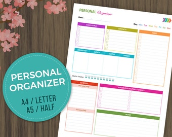 Personal Organizer, Daily Planner, ToDo List, Daily Organizer, Daily Agenda, Printable Planner, A4, A5, Half, Letter Size
