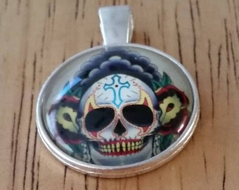 1 - Silver - Glass Cabochon - Pendant - Necklace - Skull with Cross on Forehead -  The Size is 36mm x 28mm