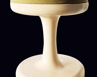 1970s modernist tulip stool by Friedrich Stuckenbroker in cream and green