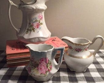 Vintage Shabby Chic Floral Creamers