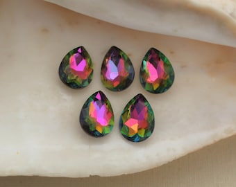 5 Pcs Vitrail Color Changing Green Glass Pear Rhinestones With Silver Foiled Backs - 18x13mm