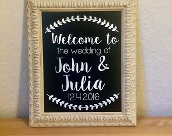 Welcome to the wedding of decal-wedding decor-rustic wedding decal-rustic wedding stickers-rustic wedding sign-wedding sign-rustic wedding