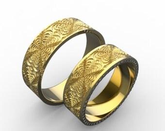 Gold Wedding Ring Set, Gold Wedding Rings Set, Diamond Wedding Ring Set, Ring Set Gold, Two Gold Rings Set, Wedding Bands Set, Gold Band