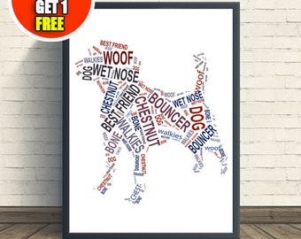 Dog personalised art print,  beagle print, beagle artwork