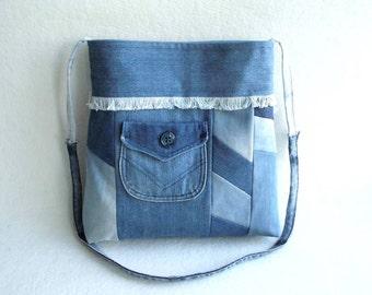 UPCYCLING /// JEANS BAG blue / Jeans shoulder bag blue / Jeans crossbody bag blue