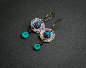 Gypsy earrings Ethnic jewelry Gypsy jewelry Hammered earrings Stone earrings Turquoise stone Turquoise earrings Gemstone earrings Boho