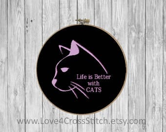 Cat Love Cross Stitch, Life is Better with Cats Cross Stitch, Cat Quote Cross Stitch, Home Cross Stitch, Cat Cross Stitch Pattern Modern