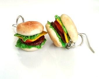 Cheese Burger Earrings Food jewelry Food earrings, Miniature Food Charms Quirky Earrings cool earrings