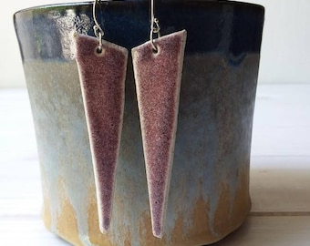 Ceramic Earrings, Geometric Jewelry, Triangle Earrings, Modern Jewelry, Silver Earrings, Clay Earrings, Women's Gift, Woman's Earrings