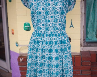 1960s Dress Large/XL in Teal and White with Geometric Patters, Fitted Waist and Square Neckline