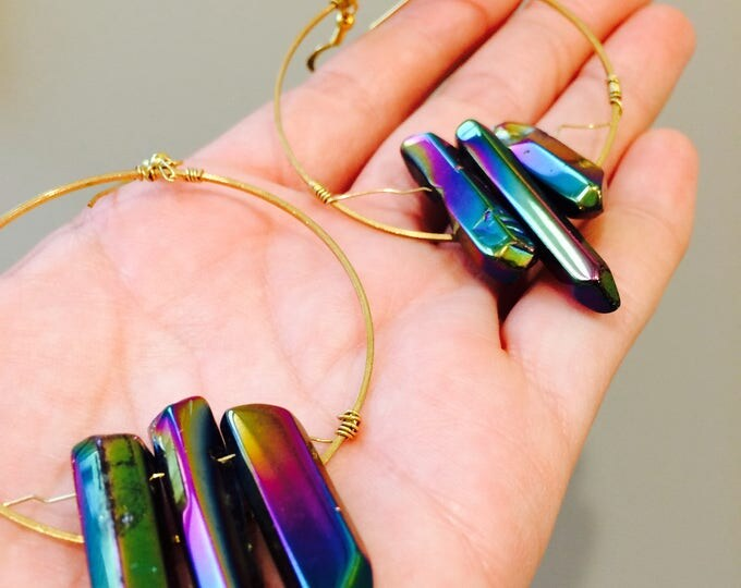 Titanium Rainbow Polished Crystal Gold Lightweight Statement Hoops