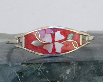 "Mexico Red Alpaca Silver Vintage 2-3/8"" Hinge Bracelet Enamel & Abalone Shell Inlays #GG3"