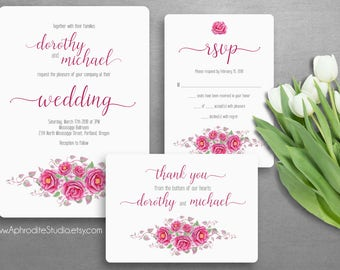 Printable wedding invitation set - Wedding invitation suite - Digital wedding invitation - Personalized wedding invitation Botanical wedding
