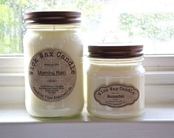 Morning Rain Soy Candle- Scented Natural Soy Wax Candle in 8 oz - 16 oz Mason Jar