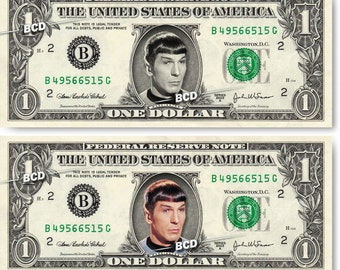 MR SPOCK on Real Dollar Bill Leonard Nimoy Star Trek TOS Cash Money Memorabilia